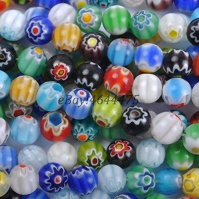 8mm Millefiori Glass - Mixed Round MILLEFIORI Glass Beads 100X4MM 50X6MM 30X8MM 20X10MM 10X12MM