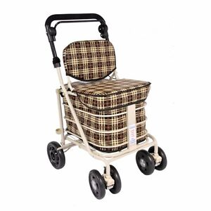 shopping trolley with seat & backrest brown (direct from manufacturer)