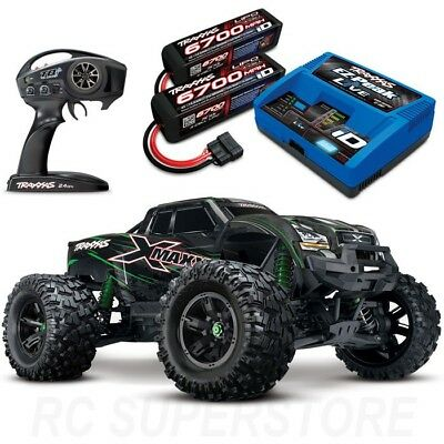 NEW Traxxas X-MAXX 8S 4WD Brushless RTR Truck GREEN w/6700MAH 4S BATTS & CHARGER