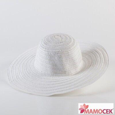CAPPELLO DONNA tesa larga passeggio mare estate spiaggia PAGLIA Bianco d.38 TU