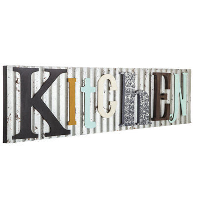 Colorful KITCHEN Chamber Plaque Rustic Galvanized Metal Country Farmhouse Decor