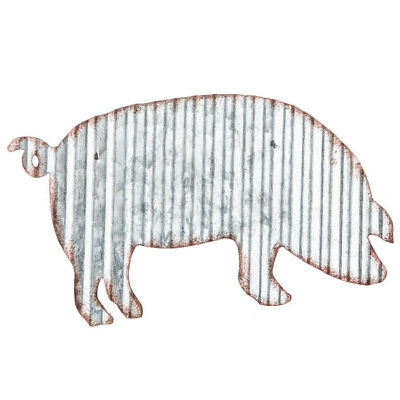 Sculptures NEW~Rustic Corrugated Tin Pig Wall