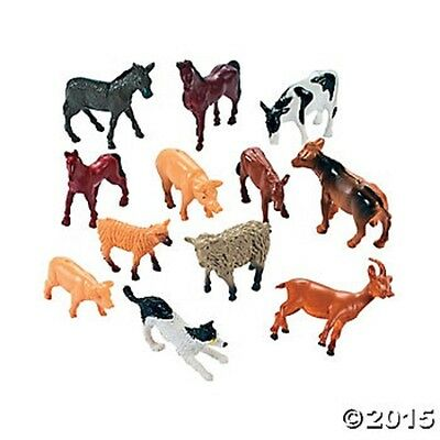 12 Mini Farm Animal Birthday Party Favors Gifts Cake Toppers Toys ()