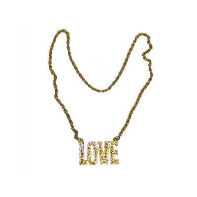 Halskette LOVE gold, Hippiekostüm Zubehör Rapperkostüm Goldkette Schmuck - Hippie Kostüm Halskette