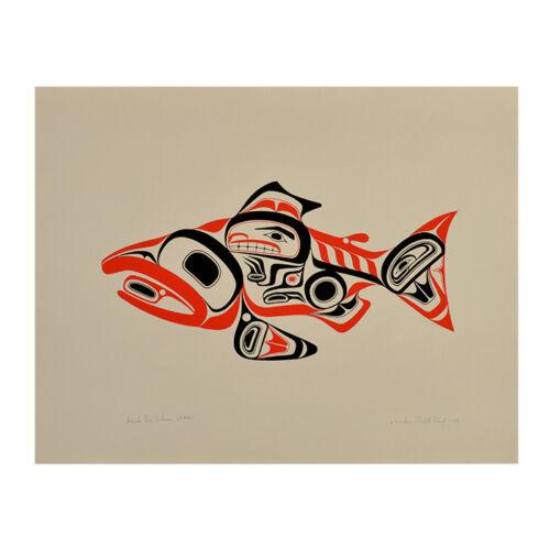 Bill Reid 1974 Haida Silkscreen Print Dog Salmon Skaagi