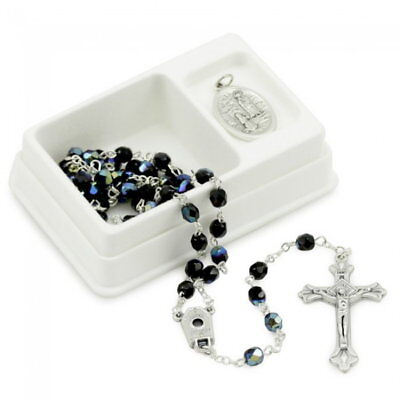 NEW MADE IN ITALY BLACK AURORA CRYSTAL LOURDES WATER MIRACLE ROSARY GIFT SET