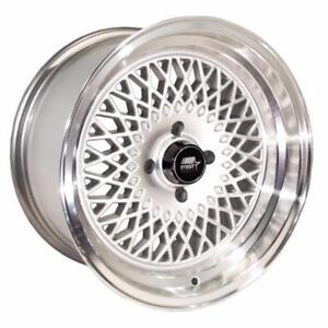 bbs style 15x8.0 20mm 4x100 73.1 Silver w/Machined Lip $500 for all 4 new in box