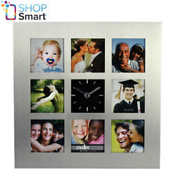 8 PHOTO PICTURE FRAME WALL CLOCK SILVER GRAY SQUARE MODERN HOME ALUMINUM NEW