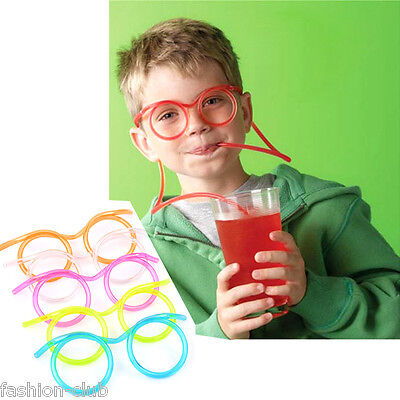 Creative Drink Straws Party Cartoon Children DIY Crazy Straw Funny Glasses Tube (Glasses Straw)