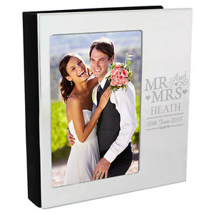 Personalised 6 X 4 Mr And Mrs Aluminium Silver Photo Al Wedding Day Gift