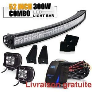 Barre de lumiere del courbe + fog light /  52 Inch 300W Curved LED Light Bar  + Pods Cube Fog Lights W/ Wiring Harness
