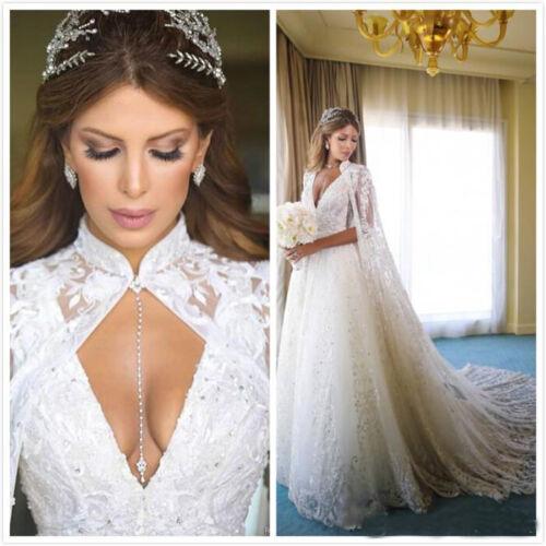 Vintage Lace Wedding Cape High Neck Bridal Applique Cloak White Ivory Custom