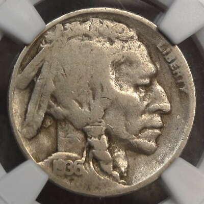 1936-D Buffalo Nickel, 3-1/2 Legs, FS-901, NGC Good-6, Very