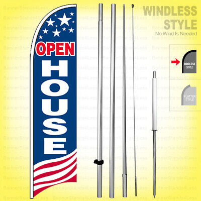 Open House - Windless Swooper Flag Kit 15 Feather Banner Sign Usa Bb-h