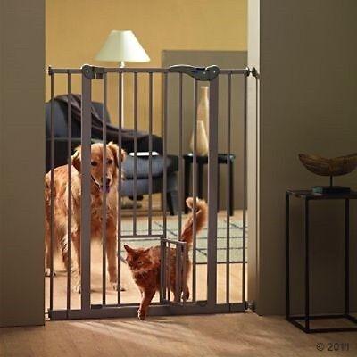 Divisorio cancello barriera con passaggio per gatti L75-84cmxH107cm.Cani,conigli