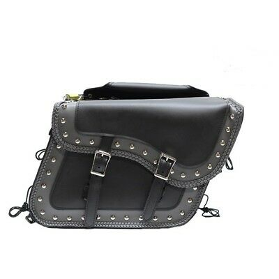 LARGE QUICK DETACH STUDDED MOTORCYCLE PVC LEATHER SADDLEBAGS UNIVERSAL FIT (Detachable Leather Saddlebags)