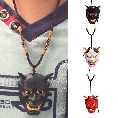 Evil Oni Noh Hannya Mask Necklace Vintage Black White Red Resin Pendant Mask](Oni Mask)