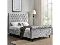 Brand new crushed velvet sleigh bed frames for sale. Mattresses available.