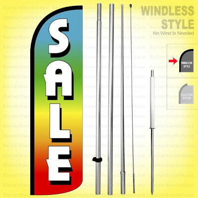 Sale - Windless Swooper Flag Kit 15 Feather Banner Sign Rainbow Q92-h