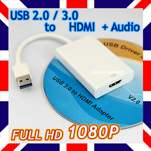 1080P USB 3.0 2.0 to HDMI Adapter Converter Video + Audio Graphics Card HDTV PC