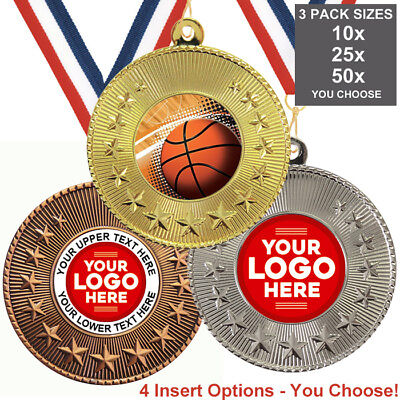 BASKETBALL METAL MEDALS 50mm, PACK OF 10, RIBBONS, INSERTS or OWN LOGO & TEXT ()