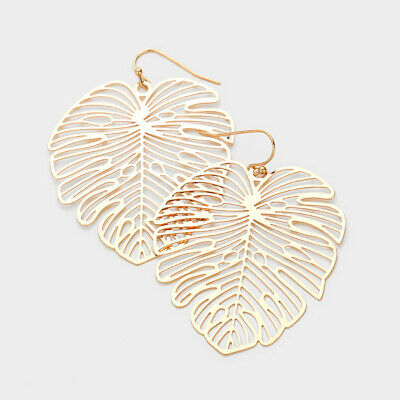 Tropical Leaf Earrings Leaf Palm Tree Filigree 2.25