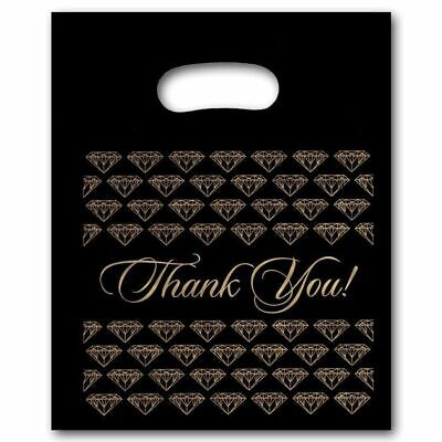 Large Black Thank You Merchandise Plastic Retail Handle Bags 12 X 15 Tall