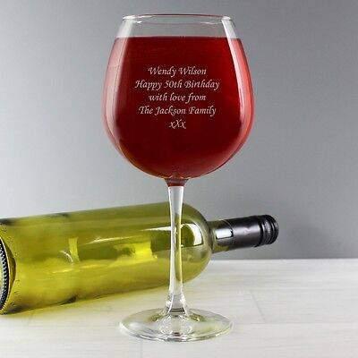 Personalised Large Wine Glass - Fits a Whole Bottle - Engraved Drinkware Gift - Personalized Drinkware