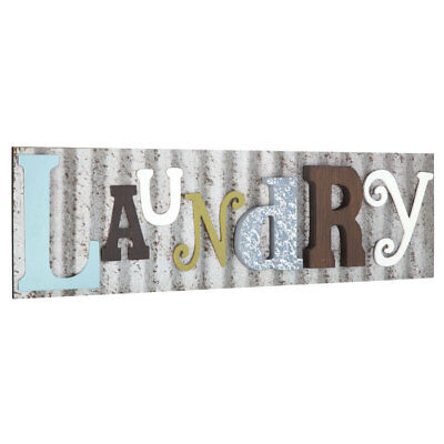 Colorful Laundry Room Plaque Rustic Galvanized Metal Country Farmhouse Decor