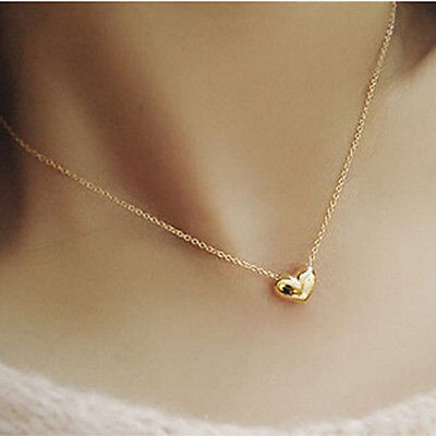 Fashion Womens Gold Plated Heart Bib Statement Chain Pendant Necklace Jewelry JP
