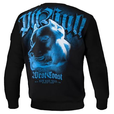 Blue Pit (Pit Bull West Coast Sweatshirt Blue Eyed Devil Black Schwarz Pullover Crewneck)
