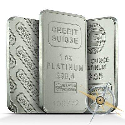 1 Troy Oz .9995+ Fine Platinum Bar/Ingot - Random Name Brand (Our Choice)