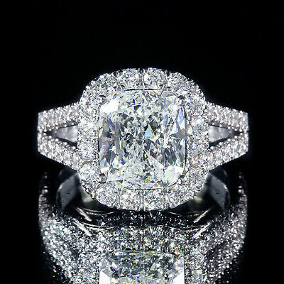 4.01ct GIA Cushion Center Pave Diamond Halo Engagement Ring w/ Filigree I/SI2