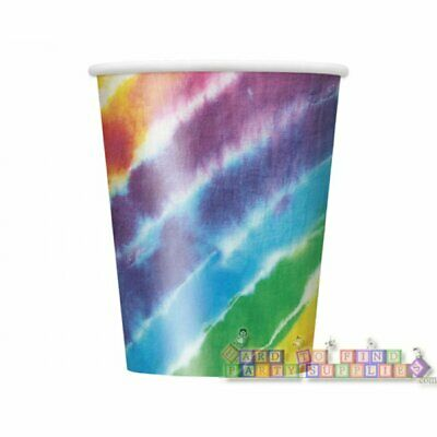 Tie Dye Paper (TIE-DYE Peace and Flowers 9oz PAPER CUPS (8) ~ Birthday Party Supplies)