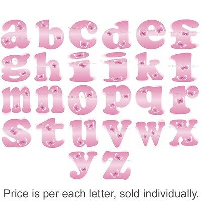 Name Wall Letters Alphabet Stickers Initial Decals Girls Decor Pink Butterfly (Decor Name Letters)