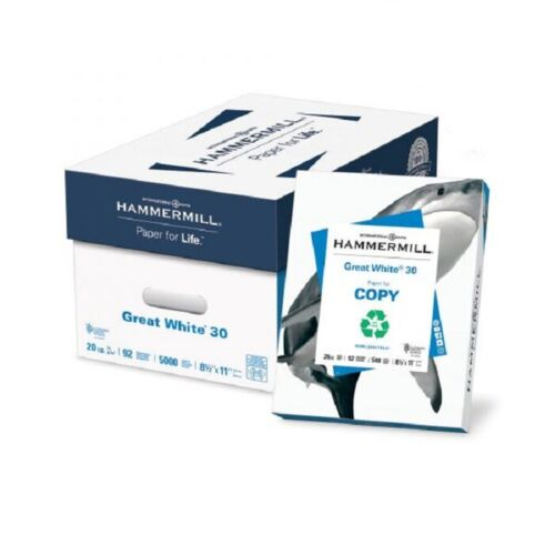 Hammermill Great White Recycled Copy Paper, 8-1/2 x 11, 2500 Sheets - (HAM67780)