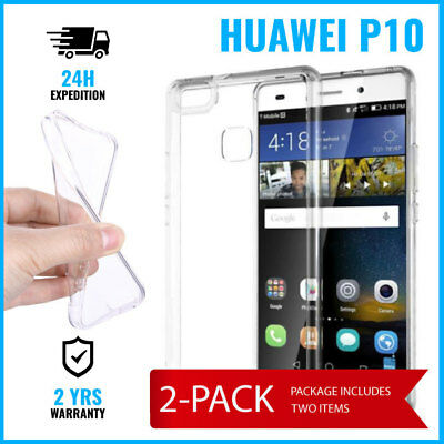 2IN1 Transparent Cas Gel Clear Case Cover Etui Coque Silicone TPU For Huawei P10