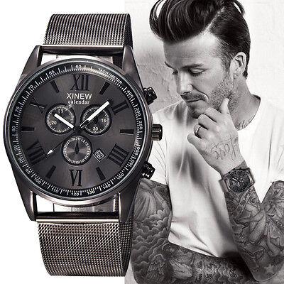 $12.86 - Men's Fashion Luxury Watch Stainless Steel Date Sport Analog Quartz Wristwatches