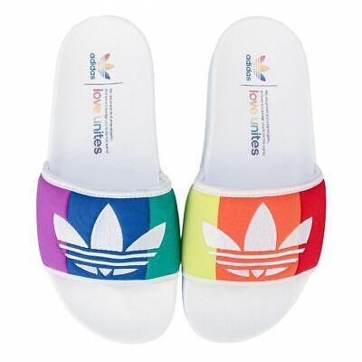Men's adidas Originals Adilette Pride Slip On Open Toe Slider Sandals in White