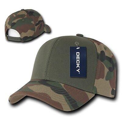 Olive & Woodland Camouflage Curve Bill Snapback Camo Baseball Cap Caps Hat Hats Baseball Caps Woodland Camouflage Cap