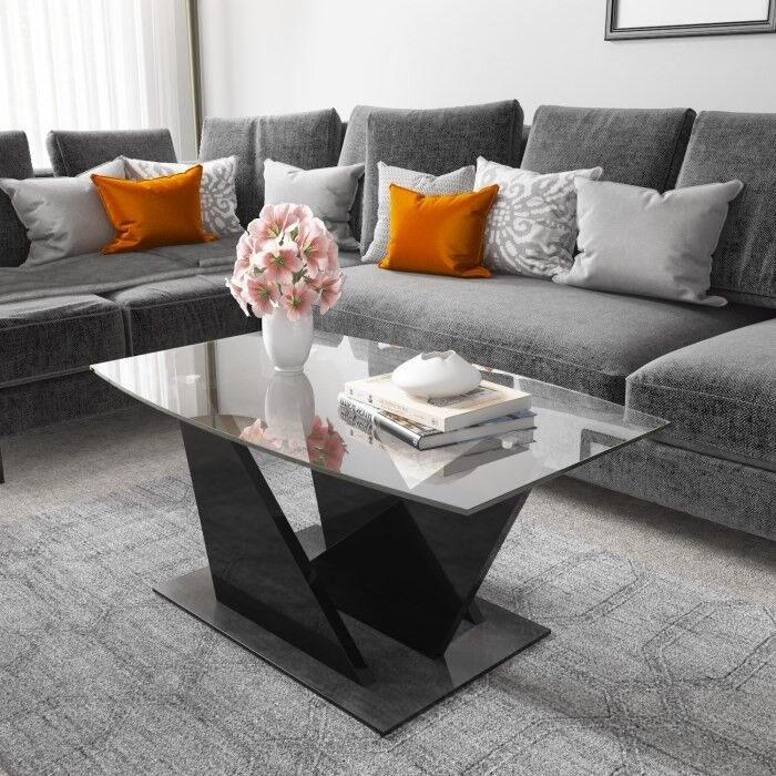 Brand New Tiffany Black High Gloss Coffee Table With Glass Top