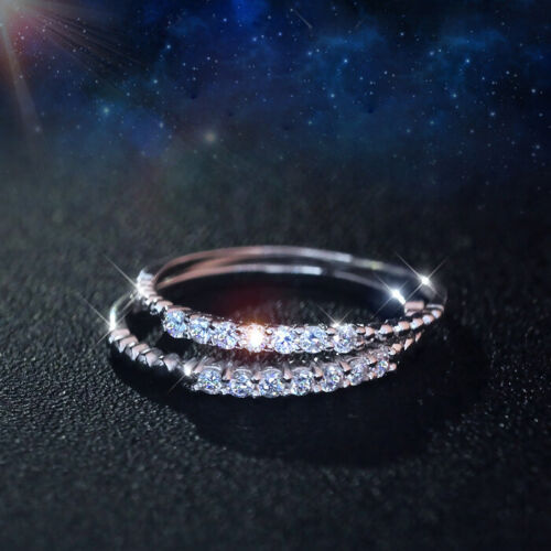 Woman REAL s925 Sterling Silver 2mm Shiny CZ Band Ring Wedding Engagement
