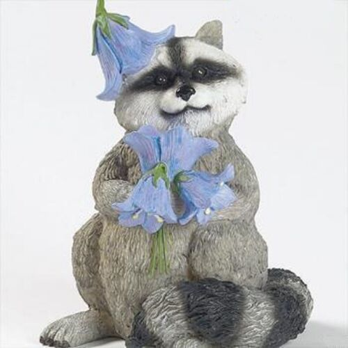 "NEW RACCOON WITH BLUEBELLS  FIGURINE INDOOR/OUTDOOR 9"" HIGH NEW IN BOX"