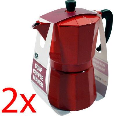 2 X 6 CUP COFFEE MAKER STOVE POT ESPRESSO KITCHEN ALUMINIUM PERCOLATOR TEA NEW