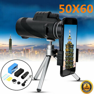 50X60 Monocular Telescope HD Zoom Optical Lens Camera with Phone Clip Tripod UK