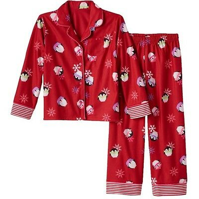 So Größe 7/8 Rot Pinguin Geknöpft Hose 2-tlg Pyjama-Set Neu Gratis Versand ()