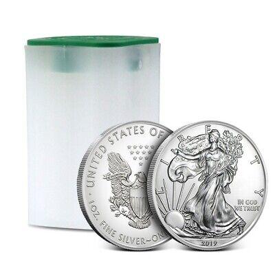 2019 American 1 Oz Silver Eagle - Lot of 20 BU Coins in U.S. Mint Tube / Roll