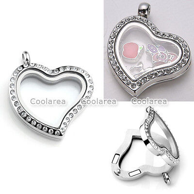 Charming Heart Living Floating Glass Crystal Locket Pendant For (Crystal Floating Heart Necklace)