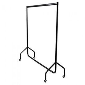 Black clothes rail on wheels (heavy duty professional)