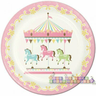 BABY SHOWER Carousel LARGE PAPER PLATES (8) ~ Party Supplies Dinner Luncheon Baby Shower Paper Luncheon Plates
